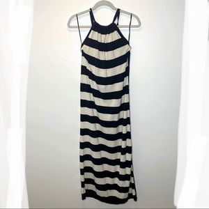 Micheal Kors Striped Halter Maxi Dress